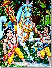 Lava and Kusha stopping Lord Rama's horse