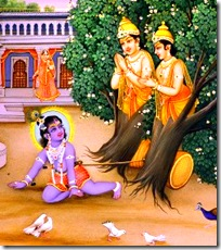 Krishna liberating two trees in Vrindavana