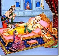 Dasharatha quitting his body