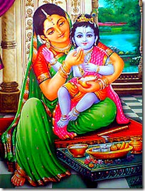 Krishna being fed by His mother