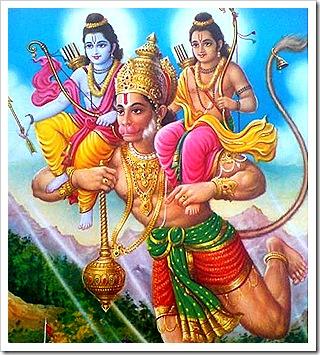 Hanuman helping Rama and Lakshmana