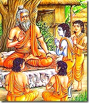 Lord Rama and brother learning from their guru