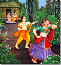 Lakshmana driving Shurpanakha away