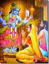 Lord Vishnu appearing before Devaki and Vasudeva