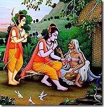 Rama and Lakshmana meeting Shabari
