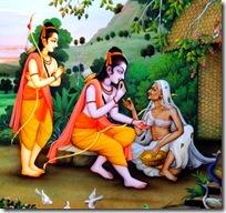 Shabari welcoming Rama and Lakshmana