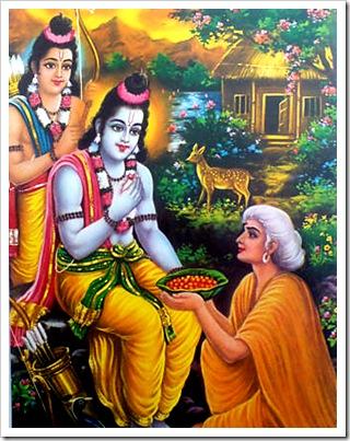 Shabari with Rama and Lakshmana