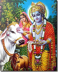 Krishna protecting the cows