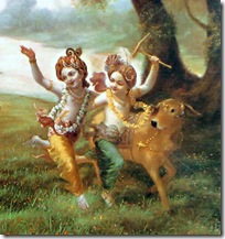 Balarama and Krishna playing in the forest