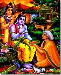 Shabari meeting Rama and Lakshmana