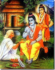 Rama and Lakshmana meeting Shabari