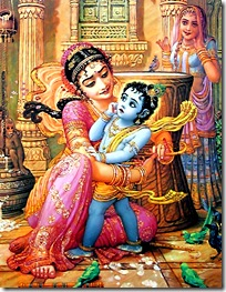 Mother Yashoda binding child Krishna