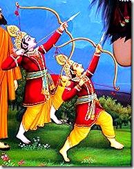 Lakshmana and Rama battling a demon