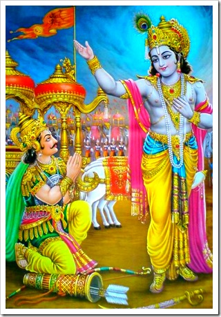 Lord Krishna delivering the Bhagavad-gita