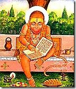 Hanuman reading the Ramayana