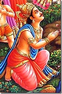 Indra offering prayers to Krishna