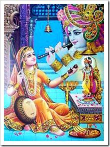 Mirabai worshiping Krishna