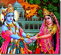Radha and Krishna in Vrindavana