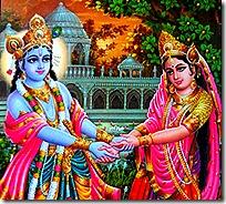 Radha and Krishna in Vrindavana