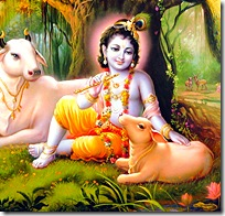 Lord Krishna with cows