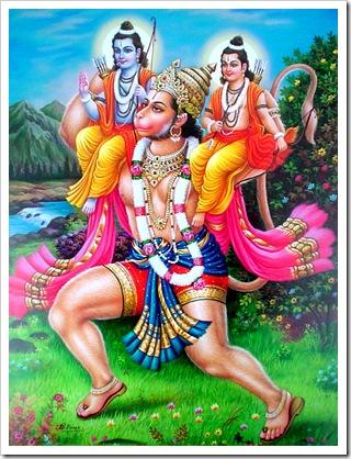 Hanuman carrying Lakshmana and Rama