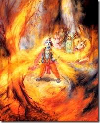 Krishna devouring a fire