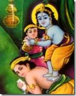 Krishna and Balaram stealing butter