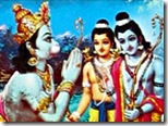 Hanuman with Rama and Lakshmana