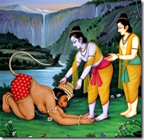 Rama and Lakshmana meeting Hanuman