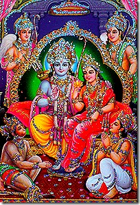 Rama with His brothers, Sita and Hanuman