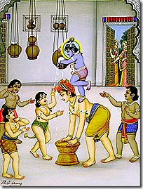 Krishna and His friends stealing butter
