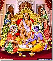 Krishna welcoming Sudama Vipra