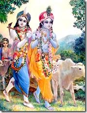 Krishna and Balarama with cows