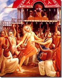 Lord Chaitanya dancing for Jagannatha
