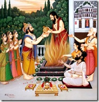 Dasharatha performing yajna for attaining a son