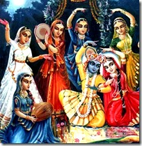 Radha and Krishna with the gopis