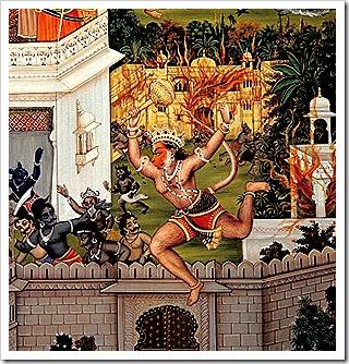 Hanuman laying waste to Lanka
