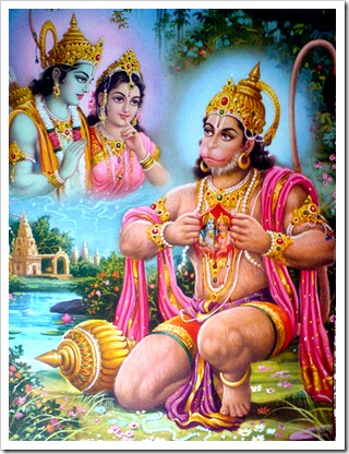 Hanuman worshiping Sita and Devi