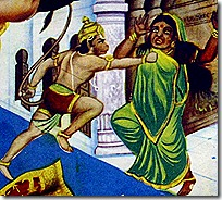 Hanuman striking Lanka