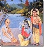Tulsidas meeting Rama and Lakshmana in Chitrakuta