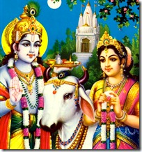 Radha and Krishna with cow