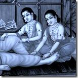 Rama and Lakshmana serving Vishvamitra