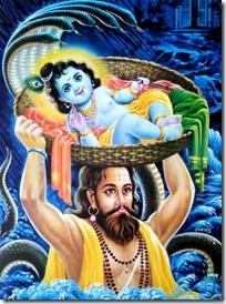 Vasudeva taking Krishna to Vrindavana