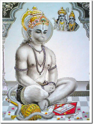 Hanuman thinking of Sita and Rama