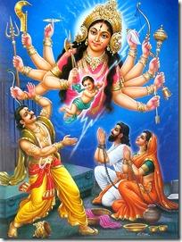 Durga Devi with Kamsa