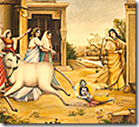 Krishna holding the cow's tail