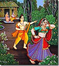 Shurpanakha running from Lakshmana