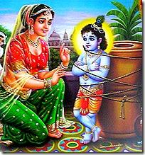 Yashoda tying up Krishna