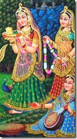 Gopis worshiping Radha and Krishna