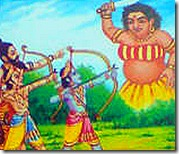 Rama and Lakshmana slaying Tataka